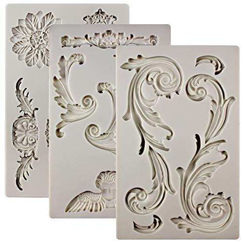 FUNSHOWCASE Baroque Ornament Curlicues Silicone Molds 3-count Cherub Birdbath Scrollworks Art Deco Lace