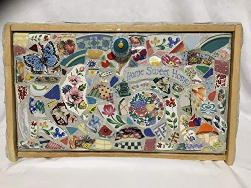 Wood Breadbox, Mosaic fruit, flowers, one of a kind