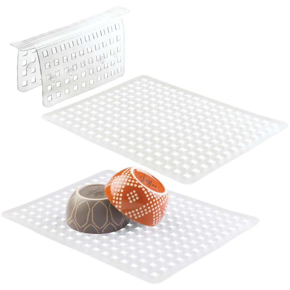 mDesign Kitchen In-Sink Protector Mats Pads Sets, Quick Draining - Use In Sinks to Protect Surfaces and Dishes - Combo Set 1 Sink Saddle, 2 Large Sink Mats - Set of 3, Clear by mDesign