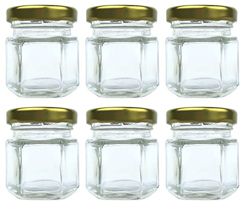 1.5 oz (45 ml) Mini hexagon food grade glass jars with metal lid for favors, sample jars, spice storage by Original Merchants (6 Pack)! (Small Glass Jars For Herbs compare prices)