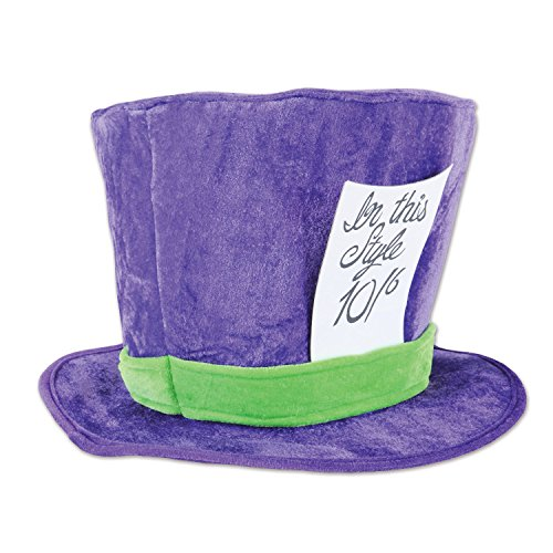 Beistle 60059 Plush Mad Hatter Hat, , Purple/Green