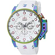 Men's 'I-Force' Quartz Stainless Steel and Silicone Casual Watch, Color:White (Model: 25277)