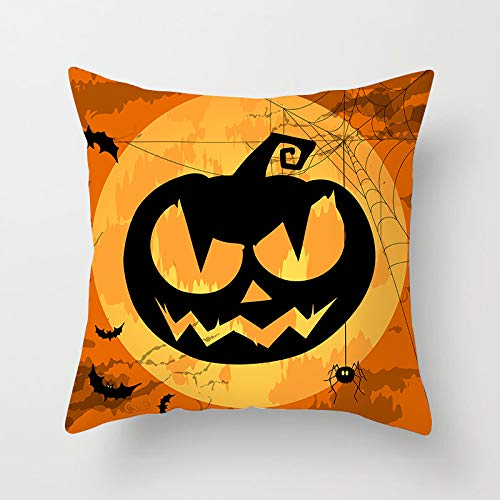 Genetic Los Angeles 4 Pieces Happy Halloween Decoration Spider, Pumpkin, Witch, Black cat Design 18x18 Inches Pillow Covers Cases