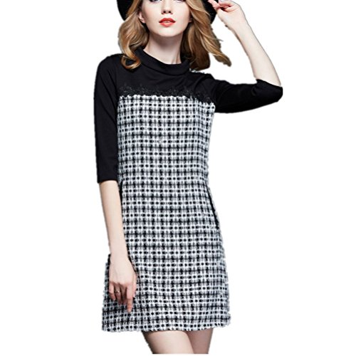 Color Atmospheric Bobbycool Dress Grey Female Simple Fashion Black Knitting HTaqEw5