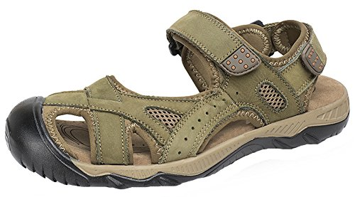 HW-GOODS Men's Outdoor Sports Hook-and-Loop Closed Toe Sand Sandals (13 M, green)