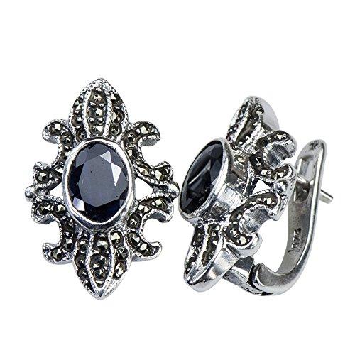 Bold Solid Natural Sapphire Fleur Motif 925 Silver - Sapphire Motif Earrings