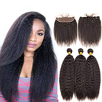3/4 Bundles With Closure 360 Lace Frontal With Bundles Brazilian Straight Hair Human Hair 2 Bundles With Frontal Closure Pre Plucked Non Remy Ruiyu Hair