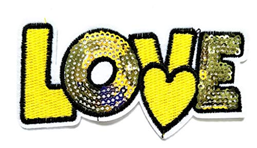 PP Patch Yellow Gold Letters Love Sequins Cartoon Logo Sticker Symbol Jacket T-Shirt Jeans Clothing Fabric Patch Sew Iron on Embroidered Sign Badge - Peace Sign Sequin