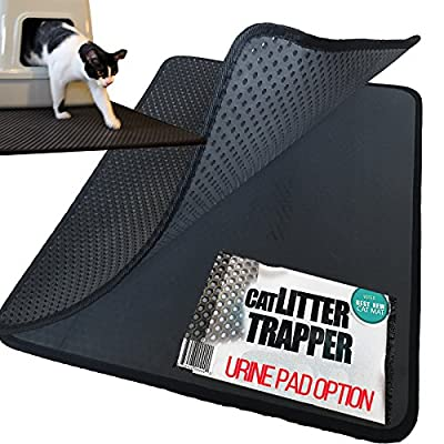 #1 Rated in USA. Cat Litter Trapper. EZ Clean. Soft & Light. XL size. 30x23inches. Urine pad feature with water proof layer. Patent Pending.