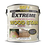 horizontal wood fence DEFY Extreme 1 Gallon Semi-Transparent Exterior Wood Stain, Driftwood Gray
