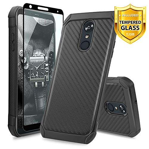 Carbon Fiber Phone Protector Case - TJS LG Stylo 4 2018/LG Stylo 4 Plus/LG Q Stylus/LG Q Stylus Plus/LG Q Stylus Alpha Phone Case, [Full Coverage Tempered Glass Screen Protector] Hybrid Shock Absorbing Carbon Fiber Inner Layer (Black)