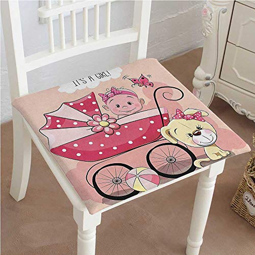 Pink Seat Papasan Infant (Mikihome Squared Seat Cushion Greeting for New Infant Puppy Dog and Baby Carriage Pastel Light Yellow Pink Garden Patio Home Kitchen Office Sofa Seat Pad 16