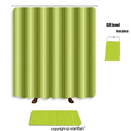 vanfan bath sets Polyester rugs shower curtain seamless green wood texture 131617223 shower curtains sets bathroom 72 x 96 inches&31.5 x 19.7 inches(Free 1 towel 12 hooks) by vanfan (Image #6)