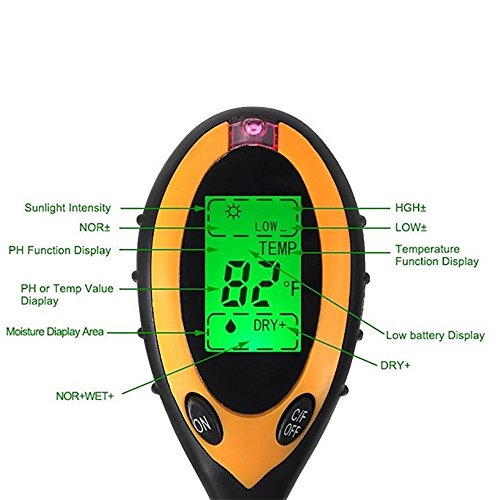 Environment Soil Tester 4-in-1 Digital Moisture Meter PH Levels Temperature Sunlight Tester for Garden, Farm, Lawn, Plants Outdoor Indoor by Environment (Image #1)