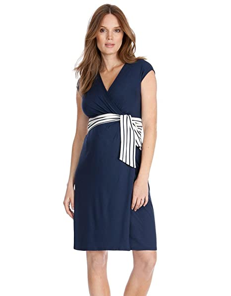 5b6fb002043c2 Seraphine Taylor Nautical Tie Wrap Maternity Dress - Navy Blue - 12