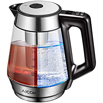 Electric Kettle Glass Tea Kettle, 1.7L Precision Temperature Control Kettle with 120min Keep Warm Function, LED Real Time Display and Detachable Tea Infuser, 100% BPA free, 2 Yrs Warranty, Aicok