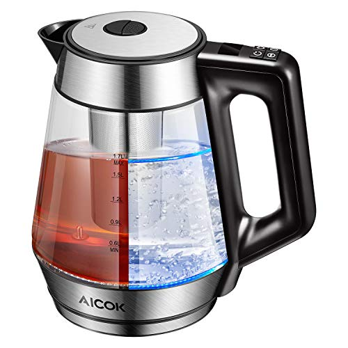 Electric Kettle Glass Tea Kettle, 1.7L Precision Temperature Control Kettle with 120min Keep Warm Function, LED Real Time Display and Detachable Tea Infuser, 100 BPA free, 2 Yrs Warranty, Aicok