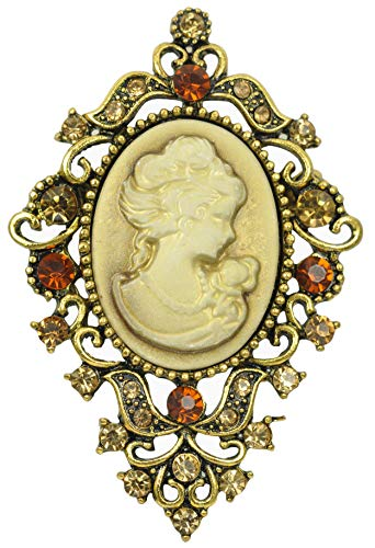 (Gyn&Joy Old Golden Tone Victorian Cameo Lady Maiden Topaz Colored Crystal Rhinestone Pin Brooch BZ183G)