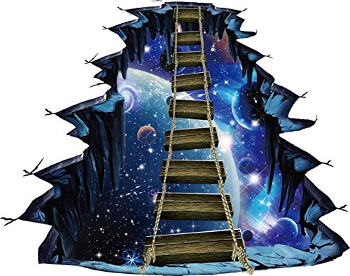 CNUSER 3D Interstellar Space Floor Stickers, Galaxy Suspension Bridge Wall Decals,Milky Way Decorations