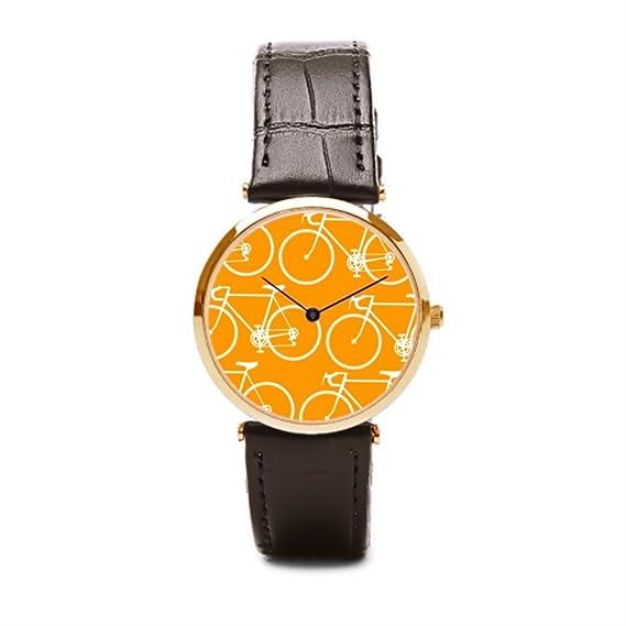 puppya piel para hombre relojes montaña Simple piel reloj deportivo, color marrón/dorado: Amazon.es: Relojes