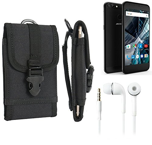 bolsa del cinturón / funda para Archos 55 Graphite, negro + Auriculares | caja del teléfono cubierta protectora bolso - K-S-Trade (TM)