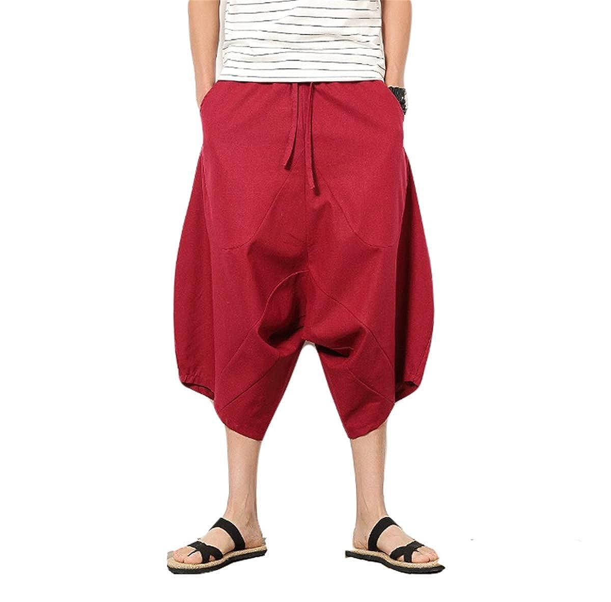 FCYOSO Men Elastic Waist Tapered Leg Baggy Harem Pant ZXH2018071603