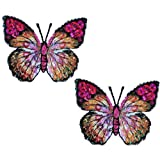 Expo MBP102PR Iron-On Embroidered Sequin Butterfly Applique, 2-Pack, Purple