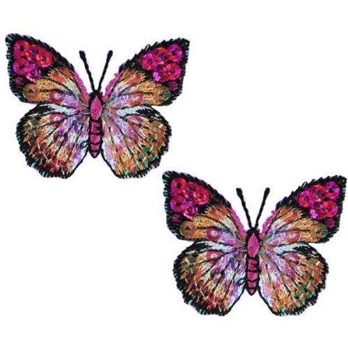 (Expo MBP102PR Iron-On Embroidered Sequin Butterfly Applique, 2-Pack, Purple)
