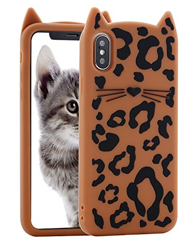 iPhone X Case Leopard, Miniko(TM) 3D Cute Cartoon Animal Brown Sexy Leopard Print MEOW Party Cat Kitty Whiskers Protective Soft Case Skin for Apple iPhone X - Whiskers Hello Kitty