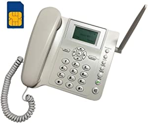 BW Wireless Quad Band GSM Desk Phone - 2.4 Inch LCD Screen, Rechargeable Battery, Caller ID, Redial, Hands Free Functions