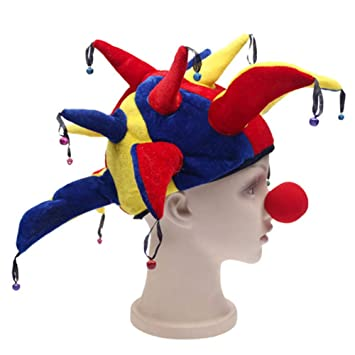 Novelty Jester Clown Hat Bells Mardi Gras Party Halloween Cosplay Costume Props