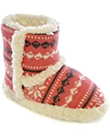 Ladies Womens Girls Fairisle Print Winter Style Fur lined Slipper Boots - Pink Blue - Size UK 3/4, 5/6, 7/8