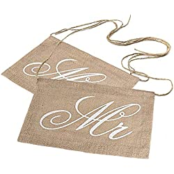 Wed2BB Lace Burlap Bows Mr. & Mrs Burlap Chair Banner Set Chair Sign Garland Rustic Wedding Party Decoration