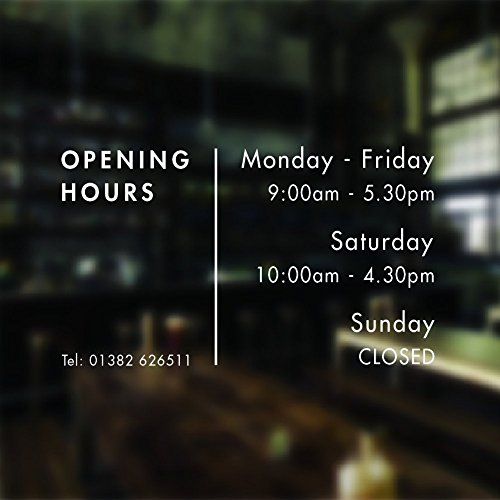 Opening hours sign opening times sign for shop window sticker v17 open closed sign business hours