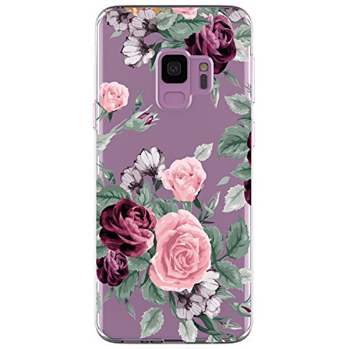 - Galaxy S9 Case, JAHOLAN Girl Floral Clear TPU Soft Bumper Slim Flexible Silicone Cover Phone Case for Samsung Galaxy S9 - Pink Purple Flowers