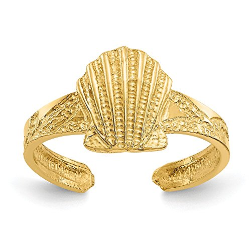 14k Yellow Gold Scallop Sea Shell Mermaid Nautical Jewelry Adjustable Cute Toe Ring Set Fine Jewelry Gifts For Women For Her -