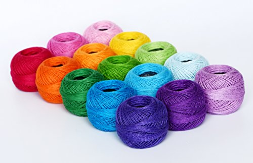 LE PAON Soft 1500Y 15 Pearl Balls Cardinal Size 8 Rainbow Colors for Crochet, Hardanger, Cross Stitch, Needlepoint Hand Embroidery. All Different Colors - Crochet Cotton Light