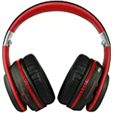 Fanny Wang FW-3003-BLK-RED 3000 Series Over-Ear Wangs Luxury Headphones with Active Noise Canceling, Apple Integrated Remote and Mic - Black Red