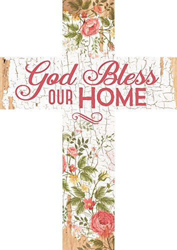 P. Graham Dunn God Bless Our Home Floral Crackled Paint Design 12 x 9 Wood Wall Art Cross ()