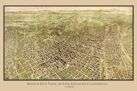 Sierra Mountains California Map.Amazon Com Los Angeles Sierras 1909 California Map Bird Eye View