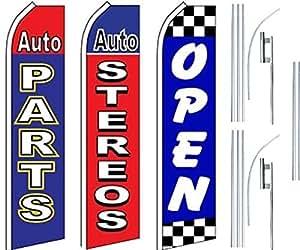 Auto tienda servicios Super bandera 3Pack & poles-auto parts-auto stereo-open