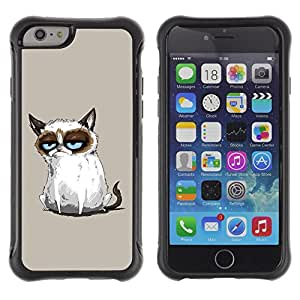 All-Round híbrido Heavy Duty de goma duro caso cubierta protectora Accesorio Generación-II BY RAYDREAMMM - Apple iPhone 6 - Siamese Cat Drawing Angry Blue Eyes Moody