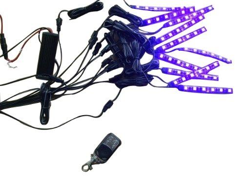 Shark SHK7PCLED RGB LED Motorcycle Light Kit Remote Control 6 LEDS per Strip - 7 Color - 10 Piece