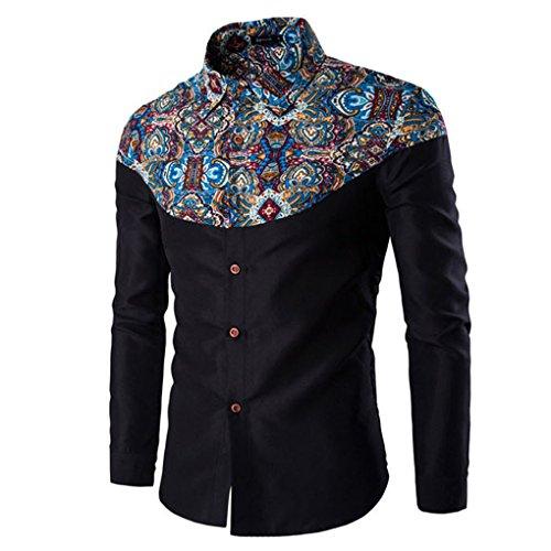 Mens Shirt,Haoricu Autumn Winter Elegant Men Fashion Printing Long Sleeved T-shirt For Work (M, Black)