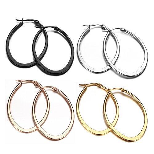 14k Gold Rope Hoop Earrings - Huanian Stainless Steel Oval Teardrop Hoop Earrings For Women,Rose Gold Black Silver 4Pairs a Set