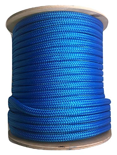 """1//2/"""" x 25/' Blue REFLECTIVE Double Braided Polypropylene Dock Line Boat max 35/'"""