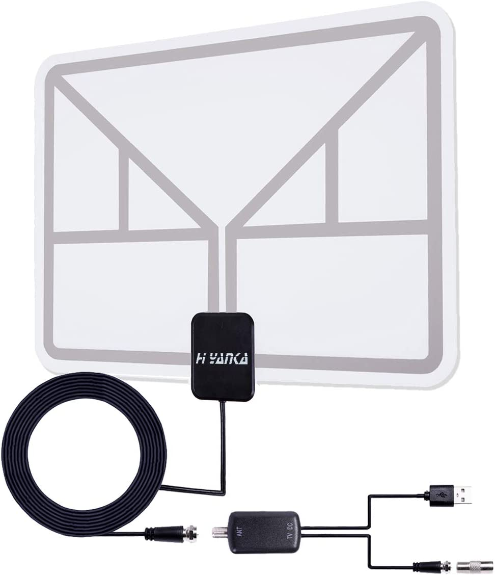 H YANKA Updated Amplified HD Digital Indoor Antenna,Long 120+ Miles Range HDTV Antenna -Indoor,Transparent White Antenna for 4K HD Local Channels - Support All Television Such as Apple