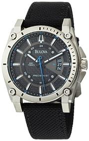Bulova Men's 96B132 Precisionist Champlain Charcoal Dial Black Strap Watch
