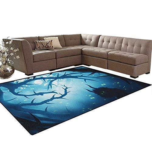 Mystic,Carpet,Animal with Burning Eyes in The Dark Forest at Night Horror Halloween Illustration,Non Slip Rug,Navy White Size:6'x9'