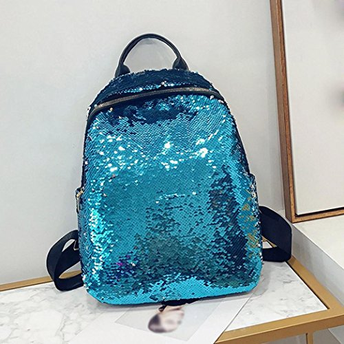 Backpack Bag for Girl Bag Double Gold Shoulder School Student Bule Travel Sequins Fashion Zip 5qEYAw